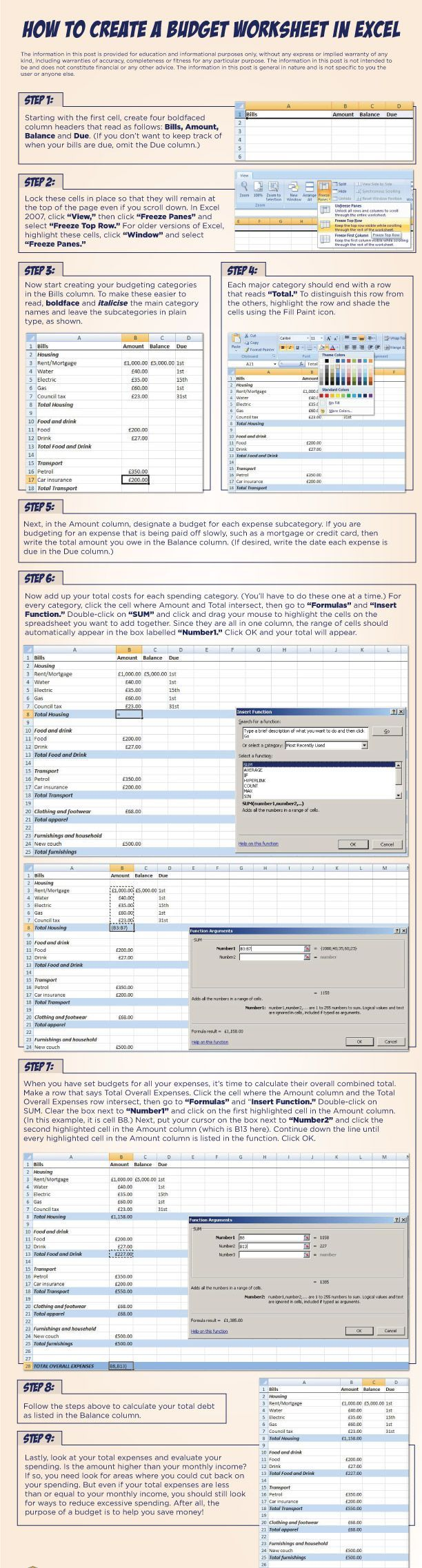 9 step by step instructions on how to create a budget worksheet in excel www.quickquid.co.uk/quid-corner/2012/07/05/how-to-create-a-budget-worksheet-in-excel/ Budgeting, #Budget, Budget Tips