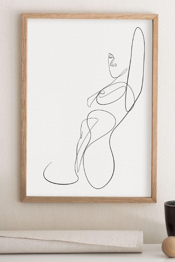 Woman Line Art Drawing, Female Body Sketch, Abstract Erotica, Minimalist Wall Art, Elegant One Line Print, Black and White Poster, Minimal – Emilia Jastrzebska