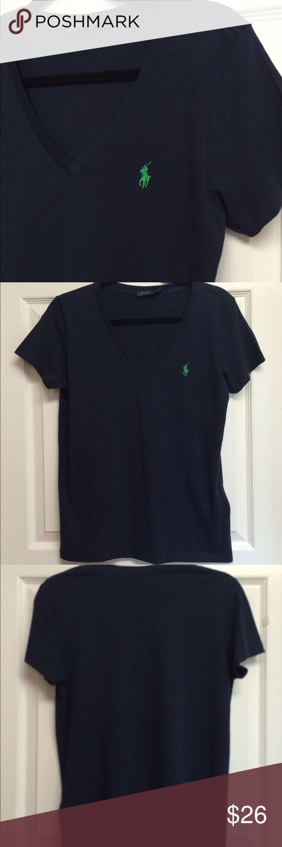 "SALE🎈Ralph Lauren navy tee shirt NWT V Neck med NWT great looking navy blue short sleeve tee shirt. This measures 19 1/2"" across. Plenty of pictures provided. Thanks for visiting gigishanger 😊 Bundle for a greater discount. Polo by Ralph Lauren Tops Tees - Short Sleeve"