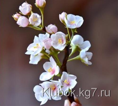 Лепим цветущую ветку вишни | Клубок