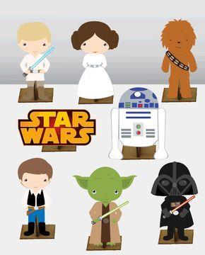 Star Wars 8 pças - Mini Totens em MDF 25cm   Ideias da Cuca