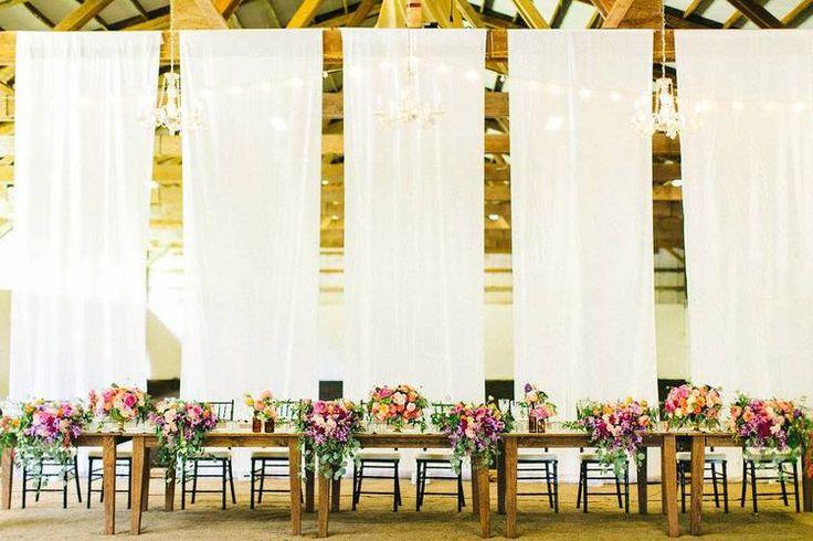Rustic, elegant barn wedding reception