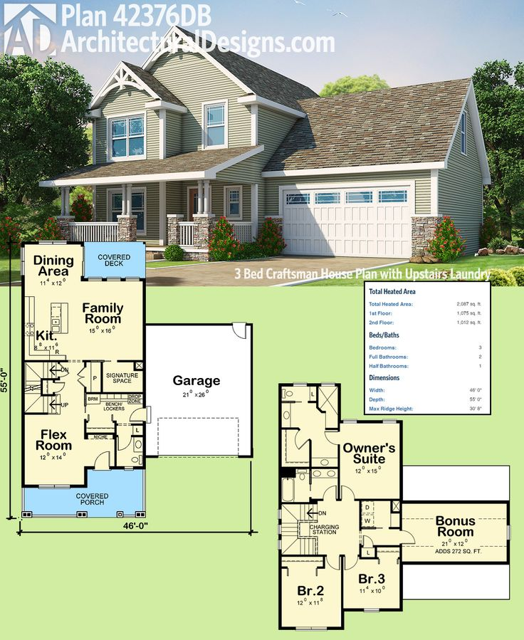 Plan 42376db 3 bed craftsman house plan with upstairs laundry craftsman house plans bonus - House plans with bonus rooms upstairs ...