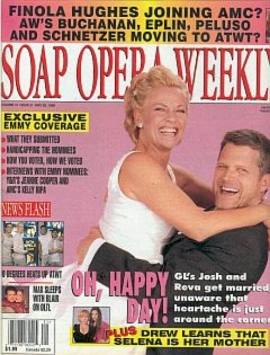 GL Josh and Reva: SOAP OPERA WEEKLY's Josh & Reva wedding cover with Robert Newman & Kim Zimmer