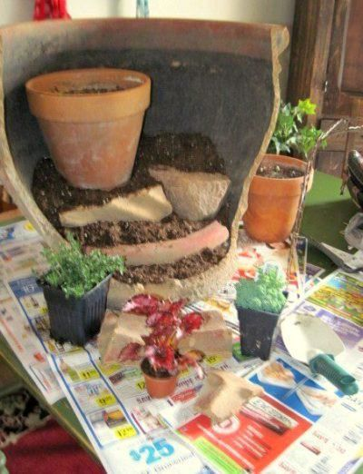 Fairy Garden In A Pot.... First Stage...MESSY!