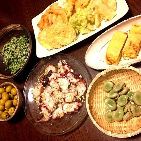 天ぷらはオリーブオイルで揚げてチリソースで食べるのが最近のブーム 紅あずまが美味しっ - 28件のもぐもぐ - 天ぷら➕卵焼き➕タコカルパッチョ➕茹でたそら豆➕ブロッコリー松田のマヨネーズ和え by らむじー