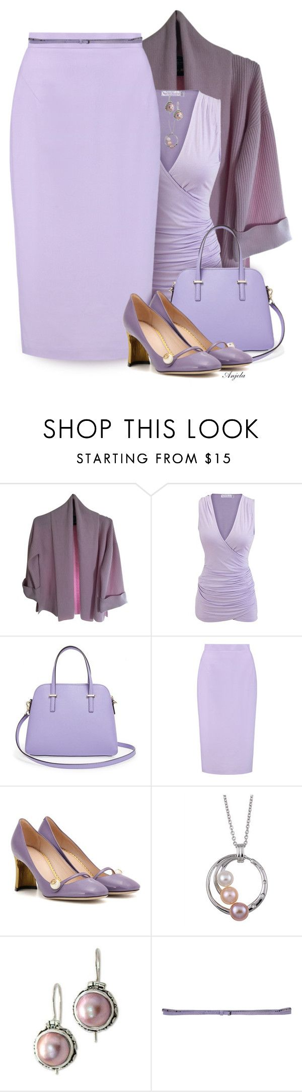 """Lilac"" by anjelakewell ❤ liked on Polyvore featuring St. John, Kate Spade, Raoul, Gucci, Kabella Jewelry, NOVICA and Manila Grace"