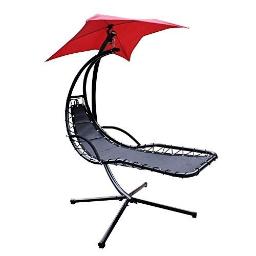 Hanging Chaise Lounger Chair Arc Stand Air Porch Swing Hammock Chair