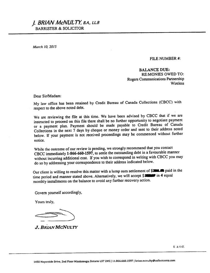 Collection lawyer Brian McNulty owes the public an explanation as - collection letter