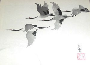 Japanese brush drawing   Japanese-Sumi-e-Brush-Painting-Art-Model-Book-TSURU-Crane-Bird ...