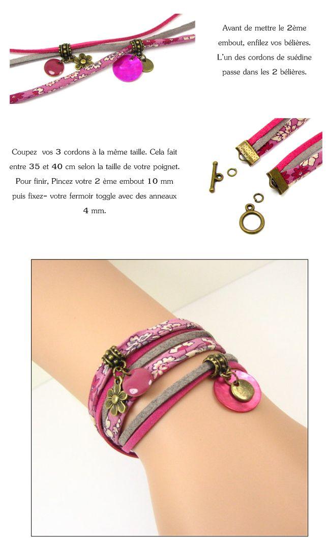 Bracelet 2 tours : liberty / suédine / sequins