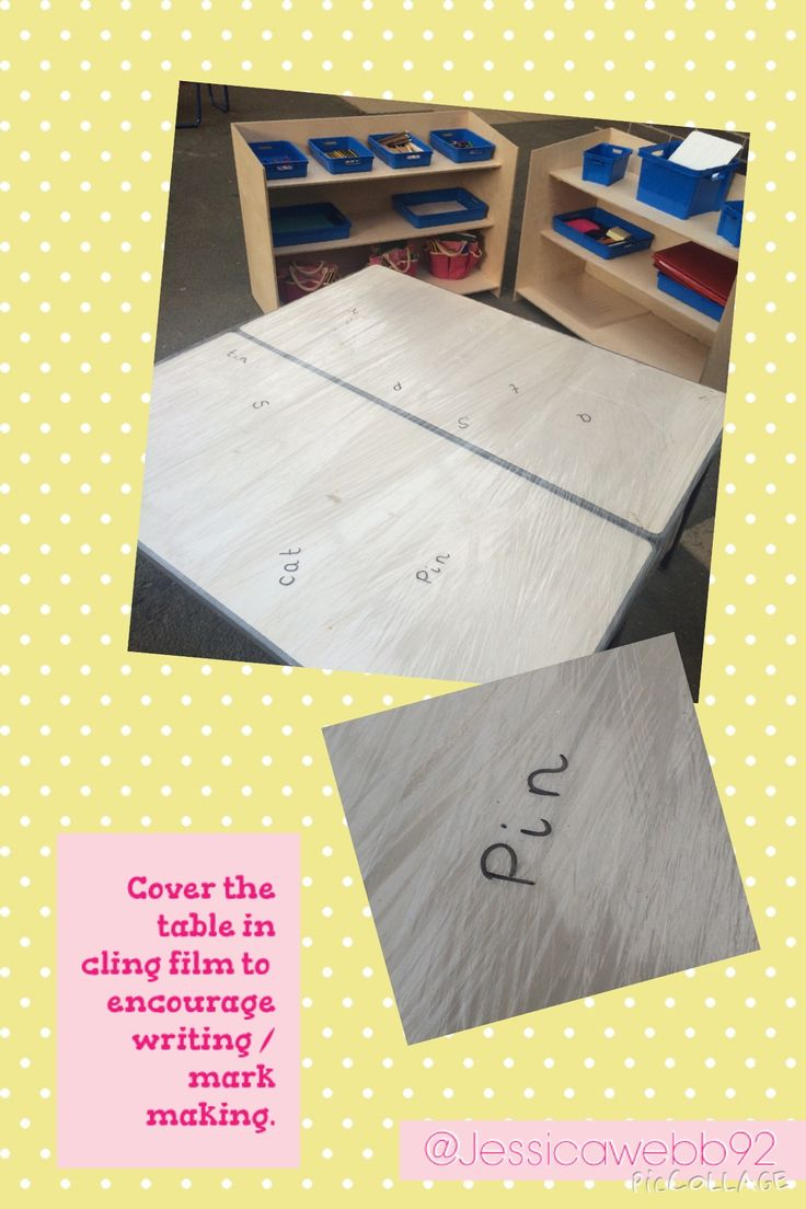 Cover a table in cling film to encourage mark making / writing. EYFS
