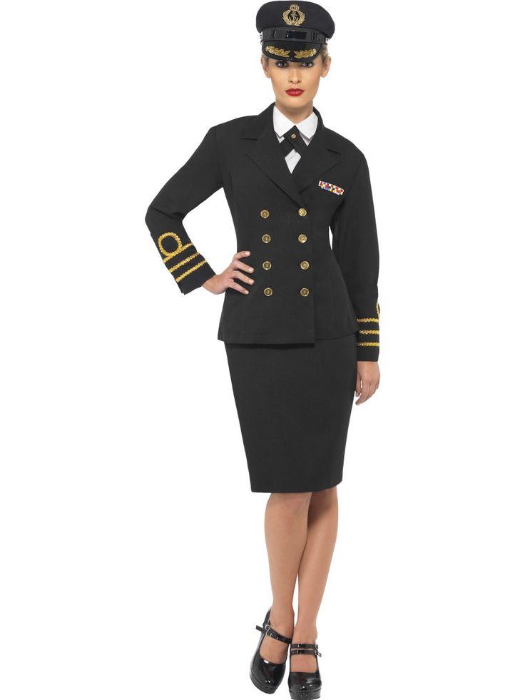 Haditengerész tiszt jelmez tartalmazza a zakót, szoknyát, előkét (mely olyan hatást kelt mintha inget viselnél), illetve a kalapot.