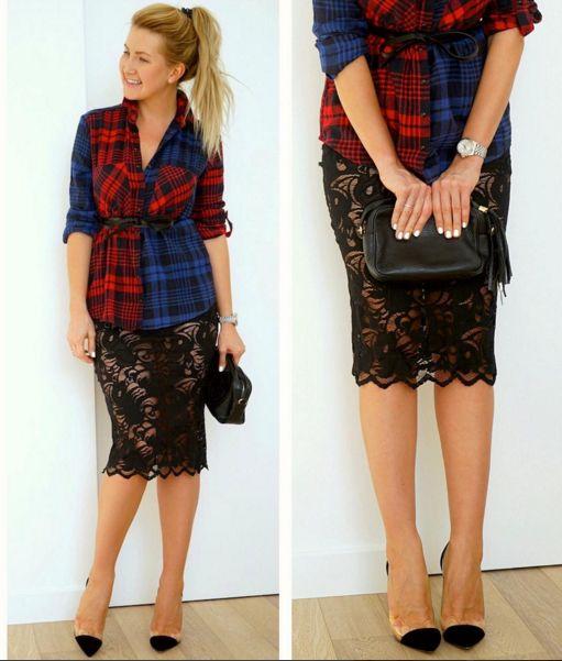 How to wear plaid flannel shirt? Как носить клетчатую рубашку | образы с кружевной юбкой - кружевная юбка карандаш