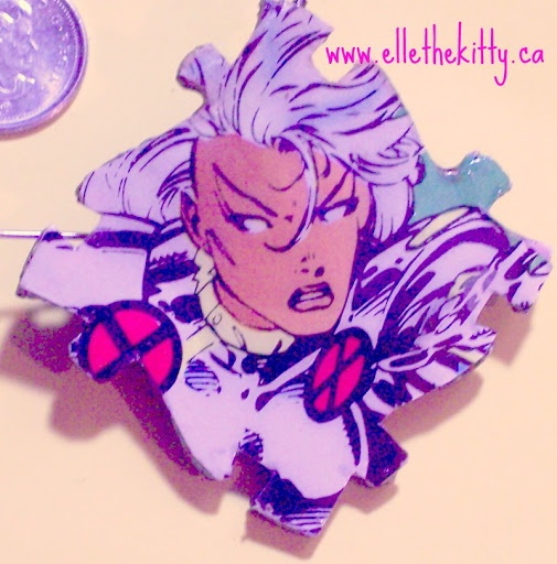 storm recycled comic book cover pin, pendant or other accessory