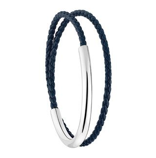 The Duo Complice silver and midnight blue woven leather bracelet, Christofle