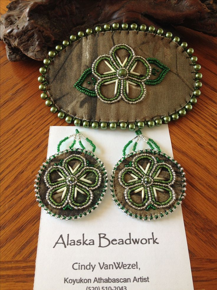 Mossy Oak Realtree Barrette/earring set with porcupine quills by Alaska Beadwork