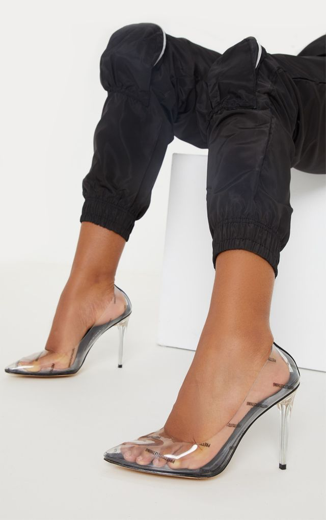 972f045904d PRETTYLITTLETHING Clear Taupe Printed Clear Courts