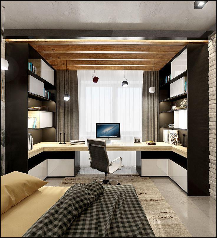 Фотография: в стиле , Спальня, Кабинет, Лофт, Декор интерьера, Квартира, Планировки, Декор, Мебель и свет, Проект недели, Зеленый, Серый, Коричневый, комната студента, как обустроить комнату для студента, спальня в стиле лофт – фото на InMyRoom.ru