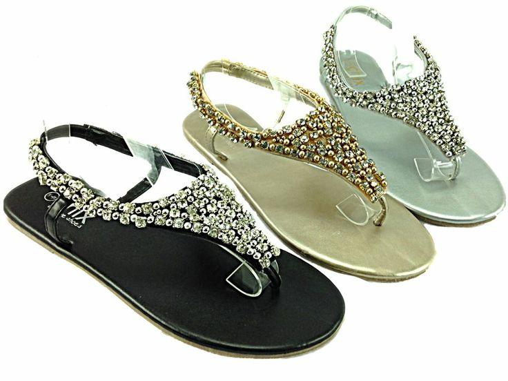 NEW! Ladies/Girls Flat Jewelled Beaded Slip On Flip Flop £20.00