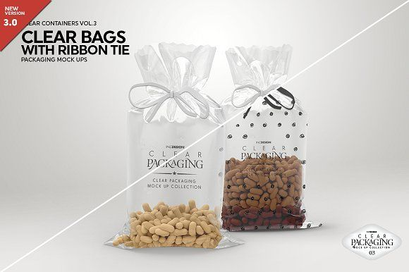 Download Clear Candy Bags With Ribbon Mockup Label Shapes Food Mockup Custom Candy