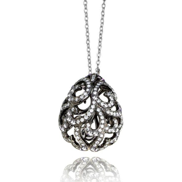 Whispering Diamond and Black Gold Pendant by Fei Liu #jewellery #feiliu #necklace #luxury #earrings