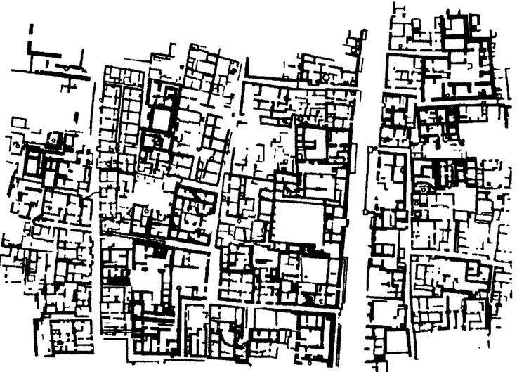 Mohenja-Daro, a Harappan city in Pakistan, shows semi-orthogonal urban blocks, which were only partly planned. (1024×736)
