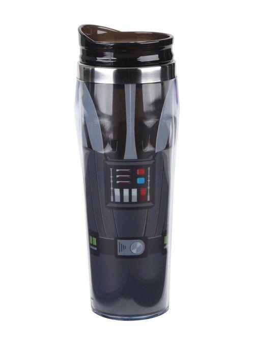Sleek Black Darth Vader Travel Mug - $11 - Star Wars Gift Ideas! - http://amzn.to/2aRwt6N