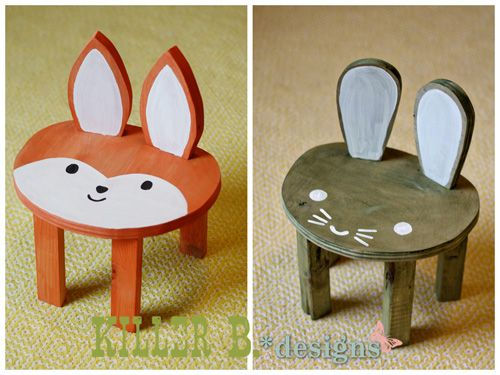 Are you ready for a crazy adorable, super cute project today? I hope so! Last week I saw an image online that inspired me to make some sweet little stools for Charlie. They're just her…