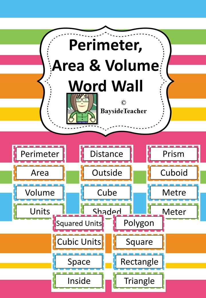 FREE - 20 Perimeter, Area & Volume related words on a ... Organized Student Binder