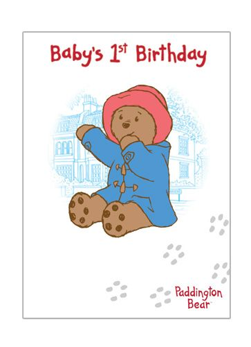 Sweet Paddington Baby's first Birthday Card from Danilo.com at http://bit.ly/PaddingtonBearCards
