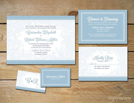 Tranquility Wedding Invitation Suite // DIY by MyCrayonsPapeterie, $45.00