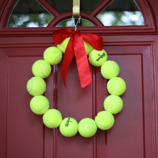 13 Attractive DIY Home Decorations Inspired by Wimbledon - Perfect door decoration also can be made from tennis balls