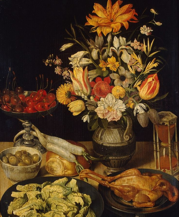Georg Flegel (1566-1638) — Still Life with Flowers and a Snack, 1635  (783×947):