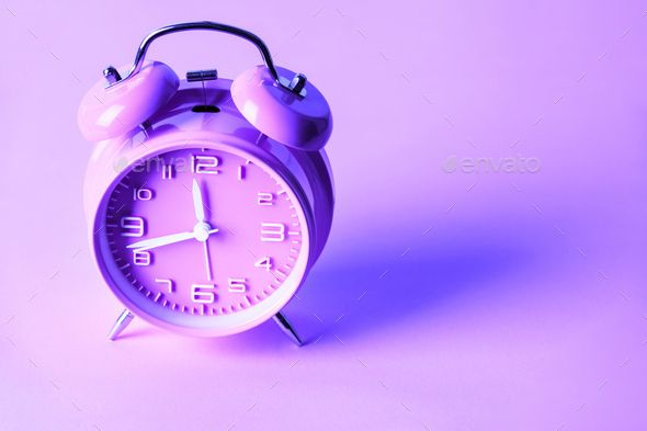 Purple Alarm Clock On Neon Purple Background Minimal Concept Dark Purple Aesthetic Purple Clock Purple Backgrounds Aesthetic clock wallpaper free download