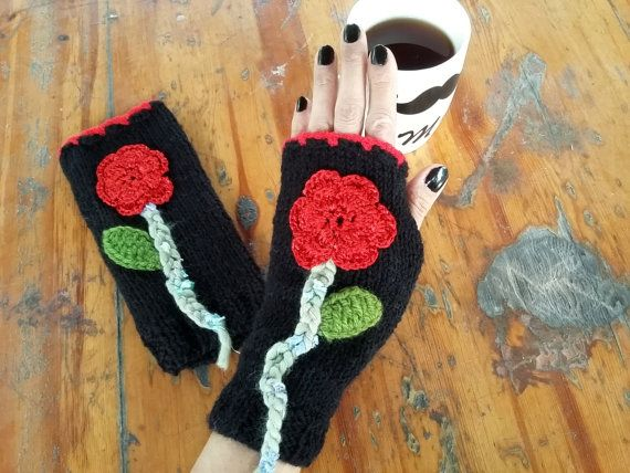 Women Knitted Gloves, Women Hand Warmers, Crochet Women Gloves, Hand Knitted Gloves, Black Knitted Gloves, Winter Knitted Glove, Boho Glove   100% 1st class. Quality Black Acrylic. Yarn was used. the decorated with flowers. These fingerless. Soft, comfortable glove.  Elegant was built. Style Gloves. warmer in winter. It is used as an accessory. Relatives brother, my friend. gift may be an alternative.  Only hand wash and dry flat.  Immediately be sent out within 1-3 business days. You can…