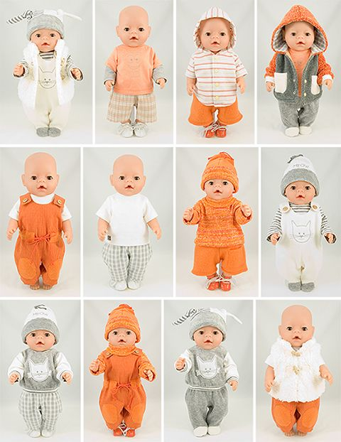 Boy doll clothing sewing pattern for 43cm baby dolls.
