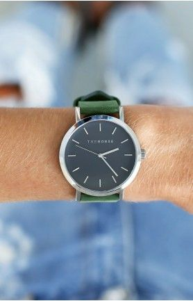 The Horse Original Silver Green Leather Watch