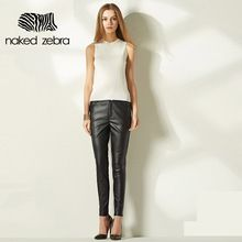 Naked Zebra 2016 Woman Leather Pants Pure Color Fashion Party Club Pu Pencil Trousers With Pockets Regular Female Feet Pants(China (Mainland))