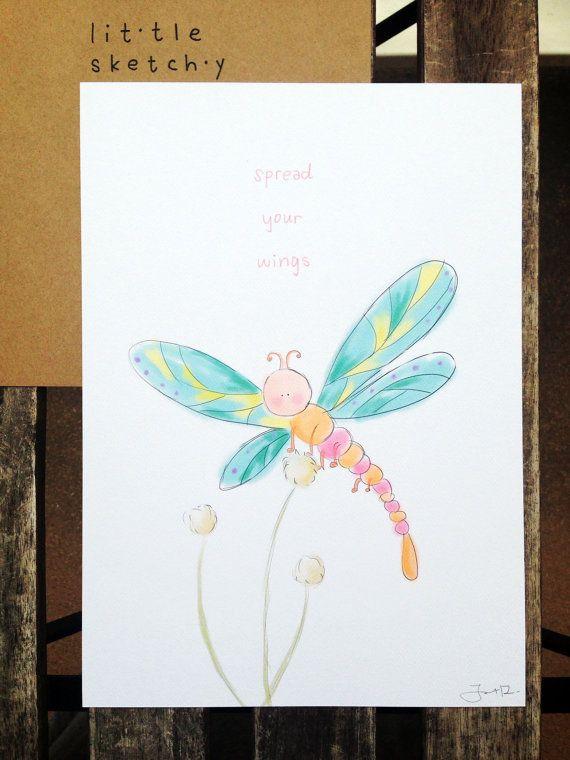 Dragonfly illustration. Nursery room art. kids by littlesketchyaus