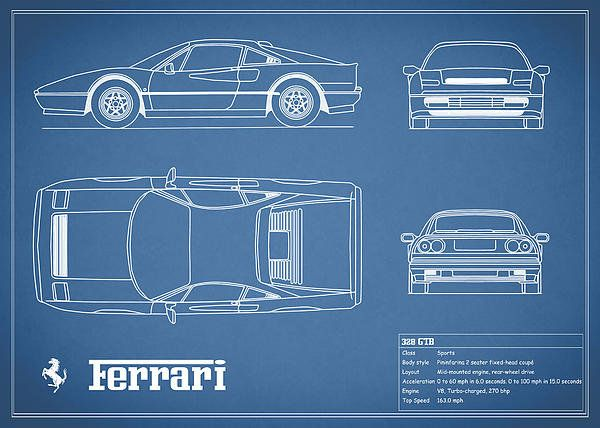 195 best car art images on pinterest cars car drawings and car ferrari 328 gtb blueprint art print by mark rogan malvernweather Gallery
