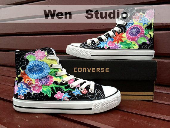 f22665640c6b Vines Converse Flower Shoes Custom Hand Painted by WenWenStudio ...