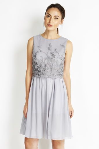 Little Mistress Grey Embellished Layer Dress #lovewallisx