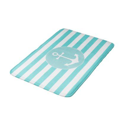 pastel blue nautical anchor and stripes bathroom mat - stripes gifts cyo unique style
