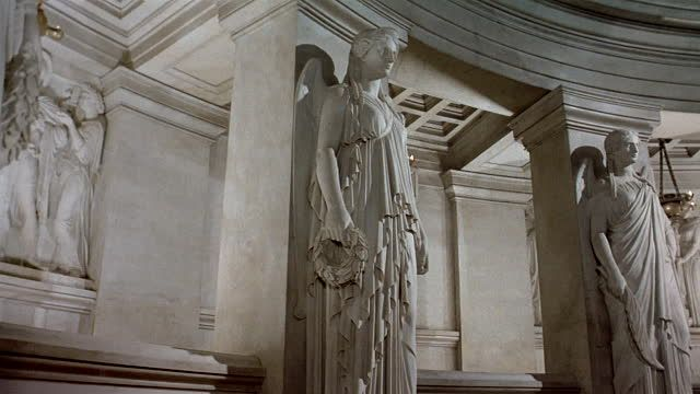 Low Angle Medium Shot Pan Statues And Relief At Napoleons Tomb ...