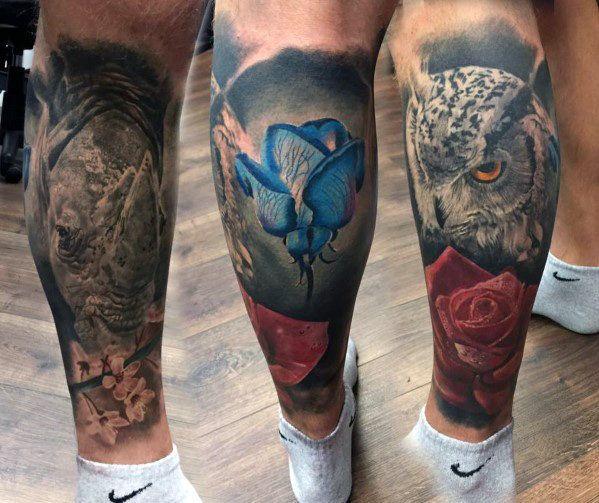 Owl Men's Leg Tattoos