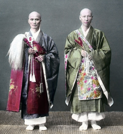 """Two priests. Hand-colored photo, about 1870's, Japan. """"✮✮Feel free to share on Pinterest"""" ♥ღ www.morebaseballcards.com"""