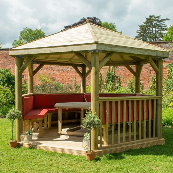 Hartwood 4m Fully Furnished Premium Hexagonal Gazebo With Timber