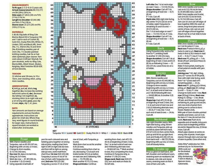 Hello Kitty Knitting Patterns Free Choice Image - knitting patterns ...