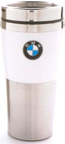 BMW Genuine Insulated Travel Mug with White Band OEM - Commute Coffee